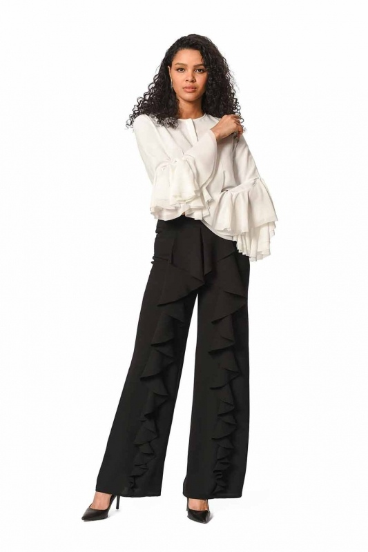 Front Frilly Pants (Black)