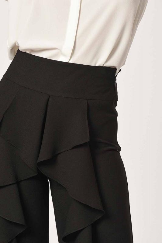 Önü Fırfırlı Pantolon (Siyah)