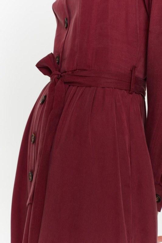 Önü Patlı Elbise (Bordo)