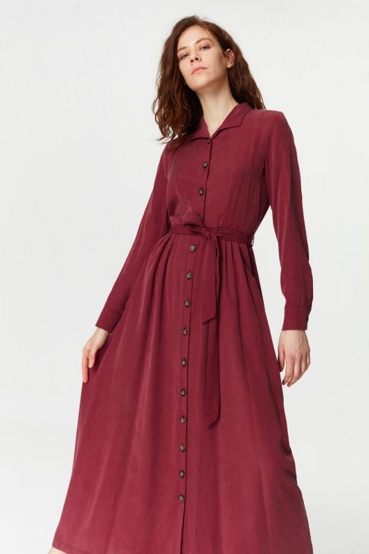 Dress With Extra Front Fabric (Claret Red)