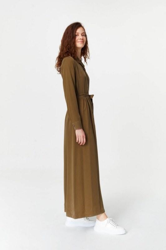 فستان بنسيج أمامي إضافي (أخضر داكن)