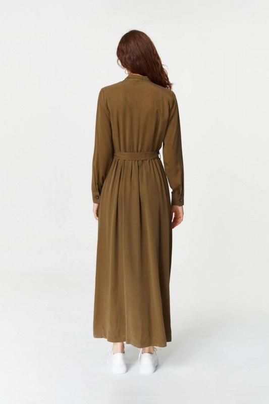 Önü Patlı Elbise (Haki)