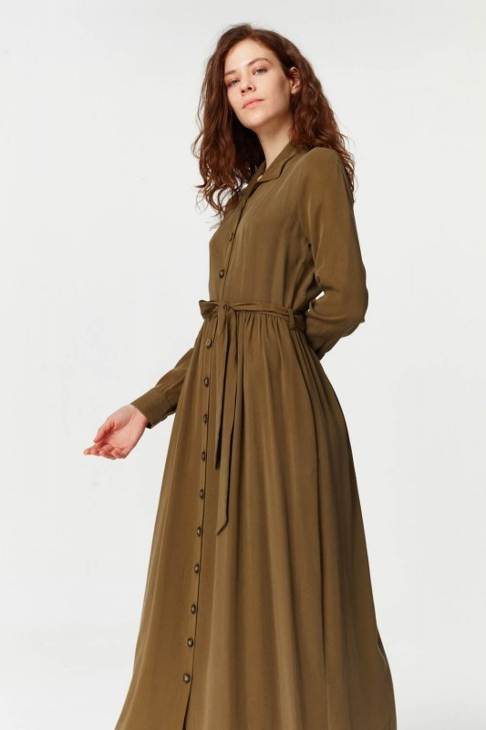 Dress With Extra Front Fabric (Navy Green)
