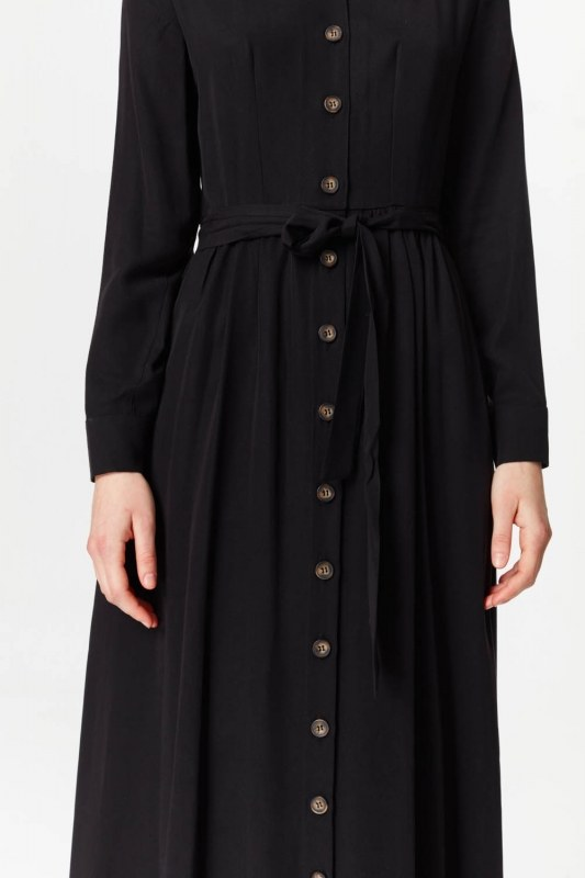 Önü Patlı Elbise (Siyah)