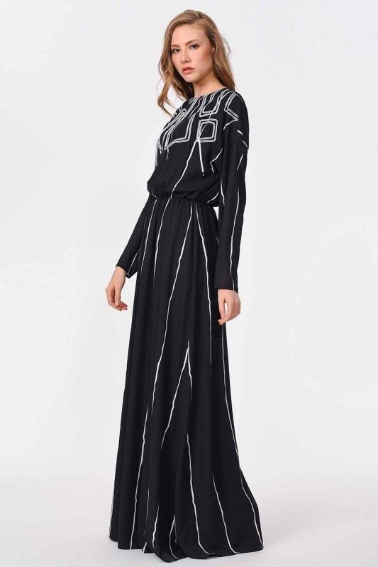 Önü Tasarım Detaylı Uzun Elbise (Siyah)