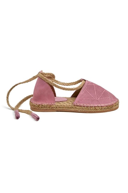 Knitted Detail Nubuck Shoes (Pink)
