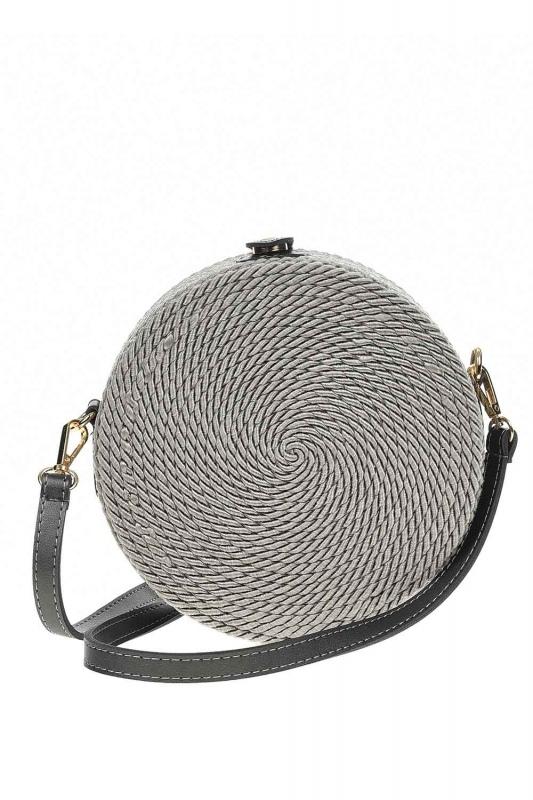 Knitting Drawstring Shoulder Bag (Grey)
