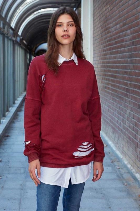 Özel Yıkamalı Sweatshirt (Bordo)