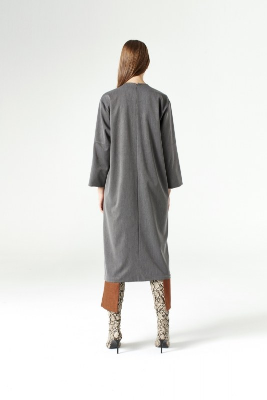 Parça Detaylı Elbise (Gri)