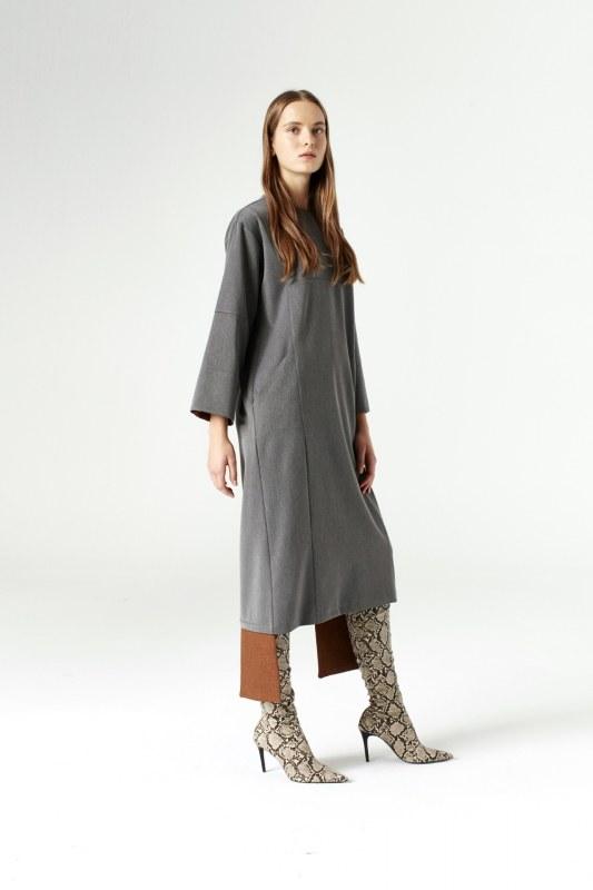 Piece Detailed Dress (Grey)