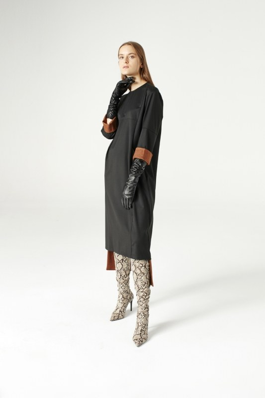 فستان بقطع تركيب ( أسود )