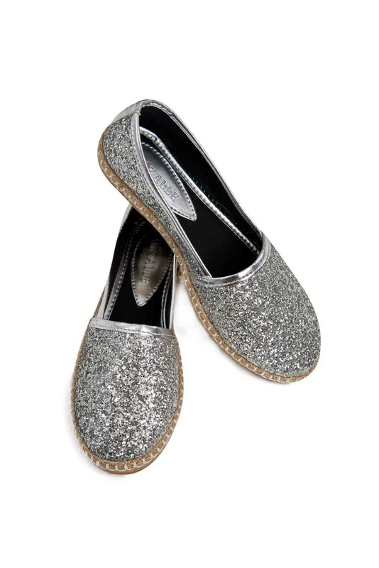 Bright Textured Espadrille (Silver)