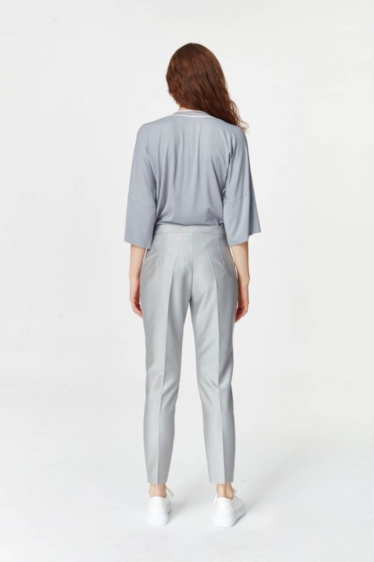 Pants With Glossy Texture (Grey)