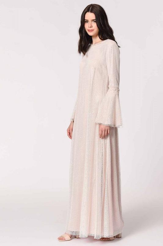 Parlak File Detaylı Abiye Elbise (Pembe)