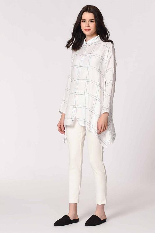 Parlak Simli Ekose Bluz (Beyaz)