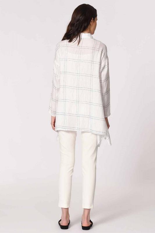 Shinny Plaid Blouse (White)