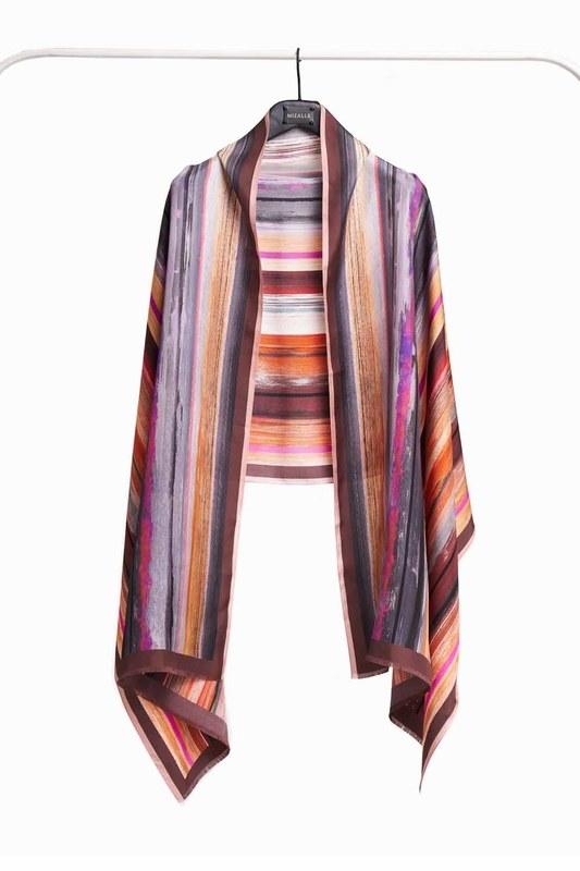 Pastel Colored Silk Shawl (Brown)