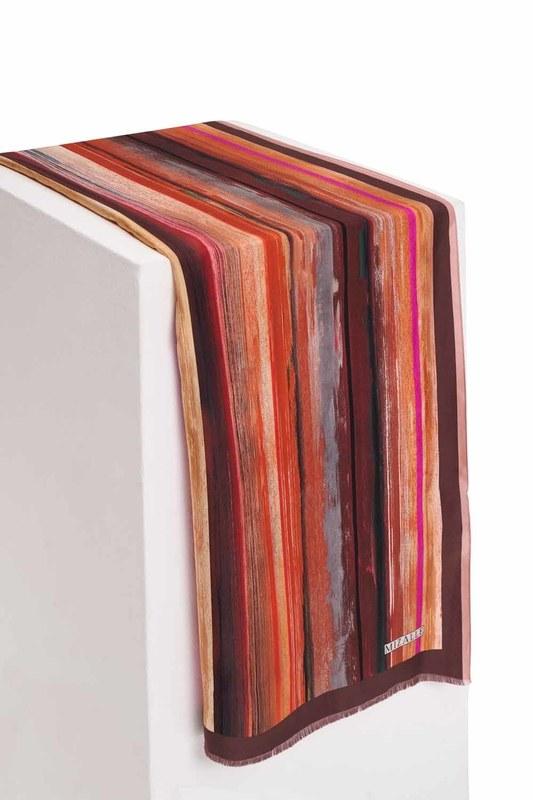 Pastel Renkli İpek Şal (Kahverengi)