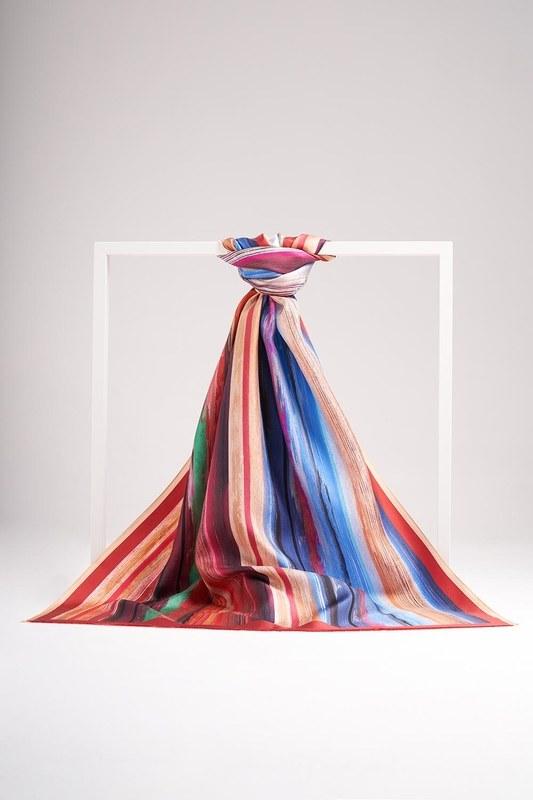 Pastel Renkli İpek Şal (Turuncu)