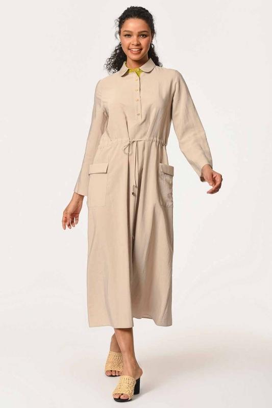 فستان طويل مع تفاصيل النجمة ومظروف الجيب (البيج)