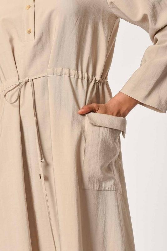 Patı Garnili Torba Cepli Uzun Elbise (Bej)