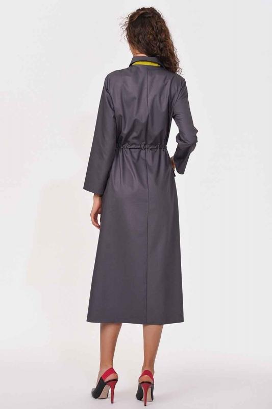 Patı Garnili Torba Cepli Uzun Elbise (Gri)