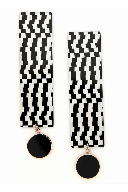 Patterned Dangling Steel Earring (St)