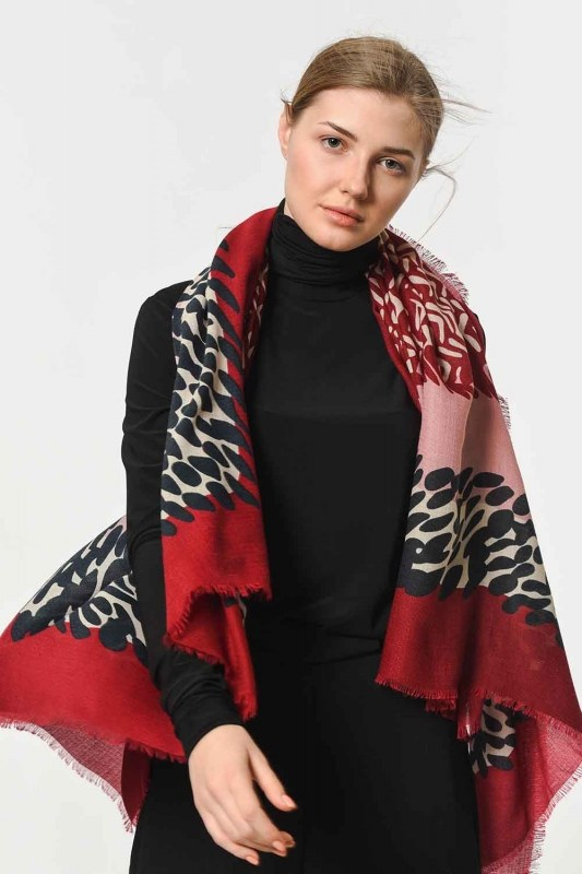 Patterned Luxurious Thin Shawl (Claret Red)