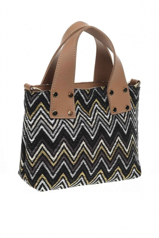 Patterned Zigzag Handbag (Black)