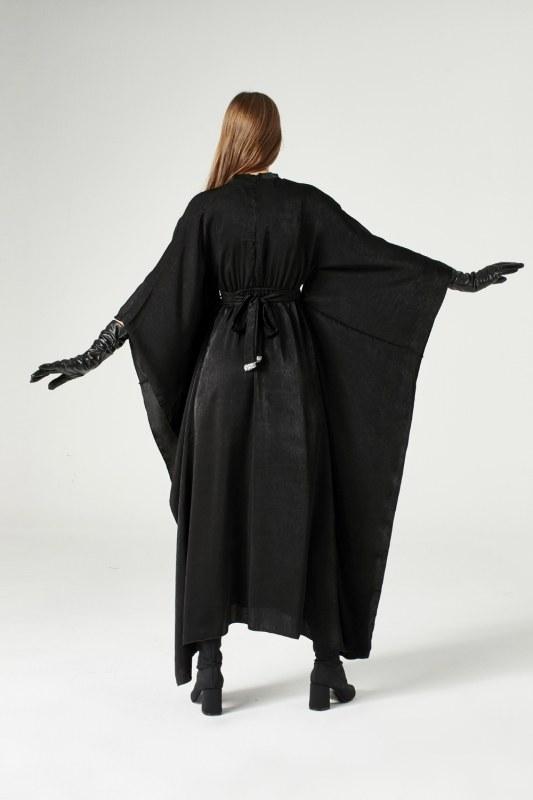 فستان مزود يشريط من الترتر (أسود)