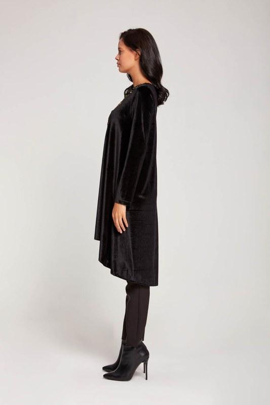 Payetli Kadife Tunik (Siyah)