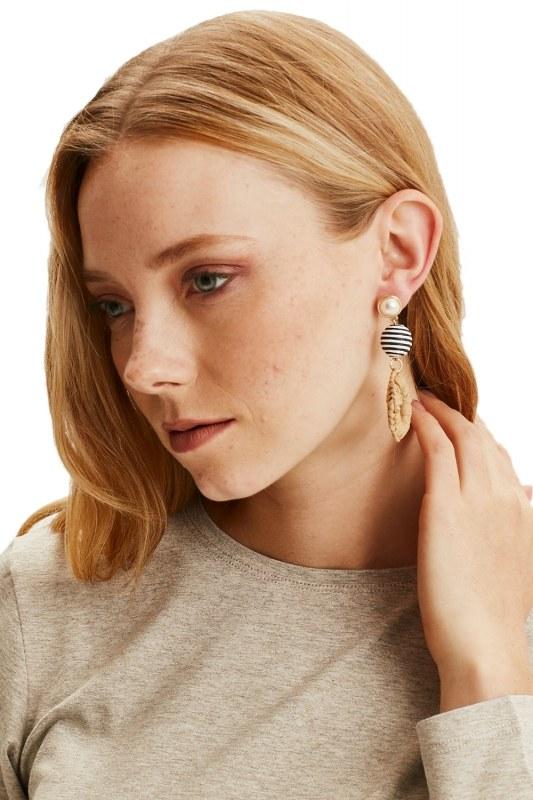 Pearl Detailed Straw Earrings (Mustard)