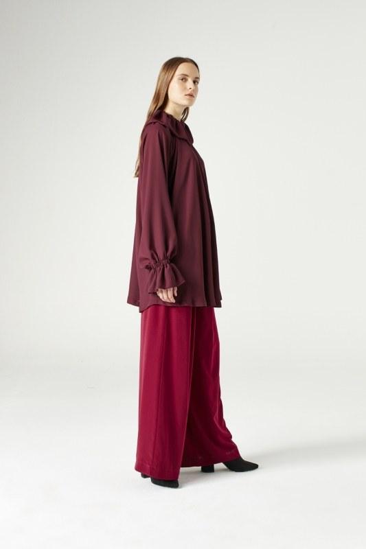 Cloak Collar Dress (Claret Red)