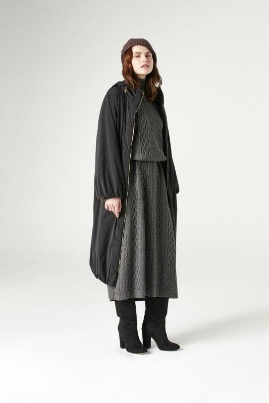 معطف طويل ببطانة بملمس الفرو (أسود)