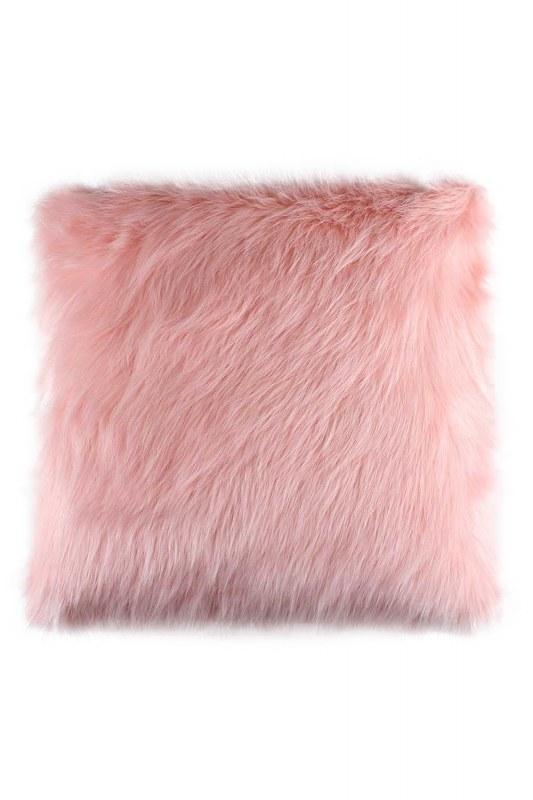 معطف فراء أفخم ، وسادة وردية (43X43)
