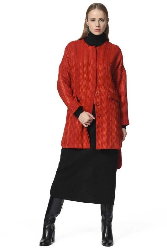 Petek Desenli Ceket (Kiremit)