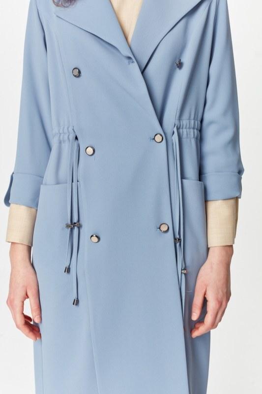معطف الخندق مع أنسجة بايك (اللون النيلي)