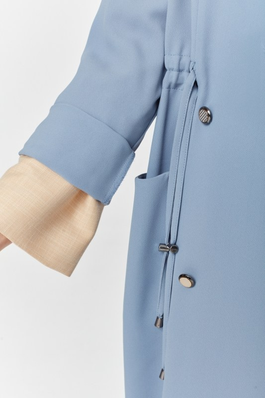 Pique Textured Trenchcoat (Indigo)