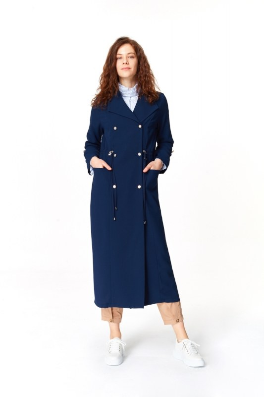 Pique Textured Trenchcoat (Navy Blue)