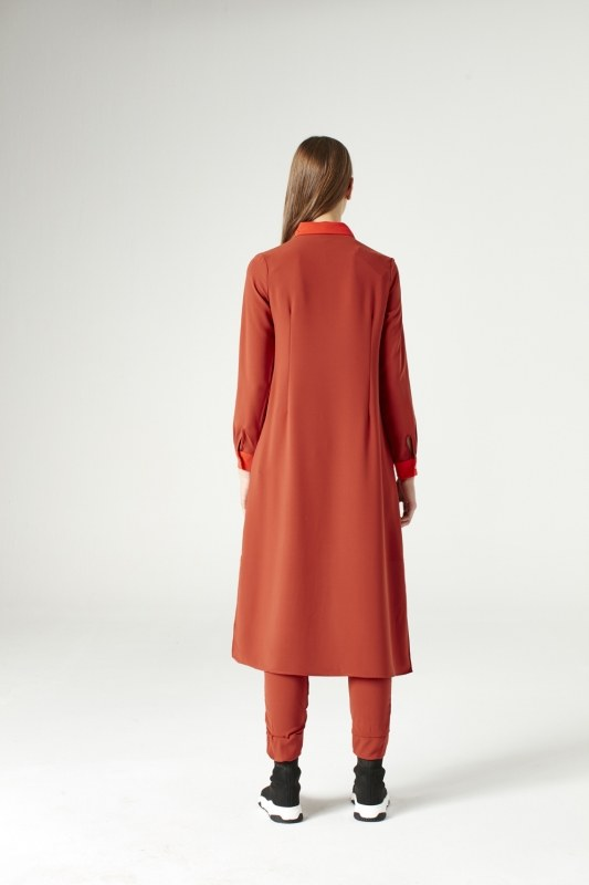 Pile-Pieces Detailed Tunic (Brick Red)