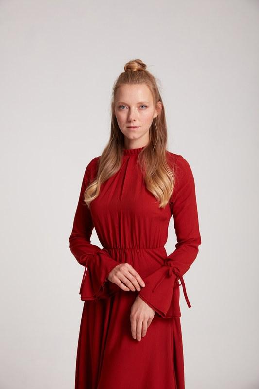 Pile Yaka Detaylı Elbise (Kiremit)