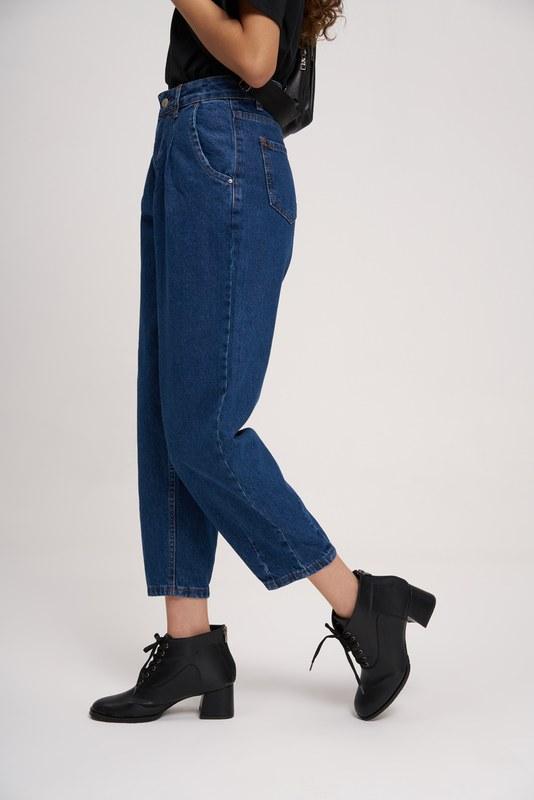 Pileli Balon Denim Pantolon (Koyu Mavi)