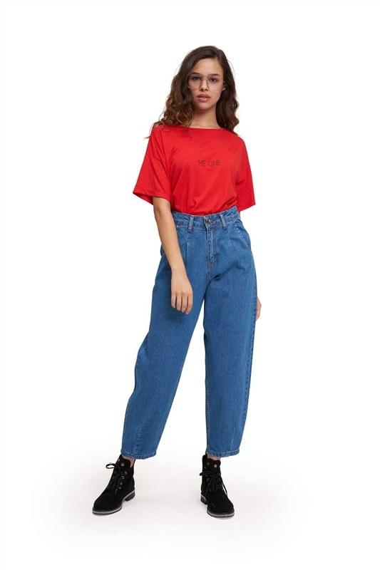 Pileli Balon Denim Pantolon (Mavi)