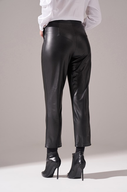 Pileli Basic Deri Pantolon (Siyah) - Thumbnail