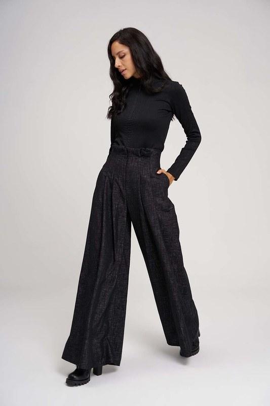 Pileli Bol Paça Pantolon (Siyah)