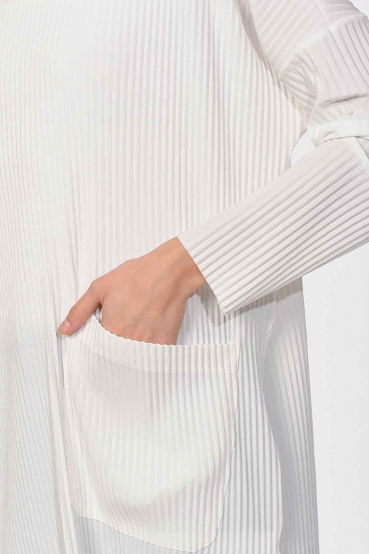 Pleated Pocket Detailed Blouse (Ecru)