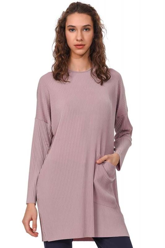 Piliseli Sandy Cep Detaylı Bluz (Pudra)