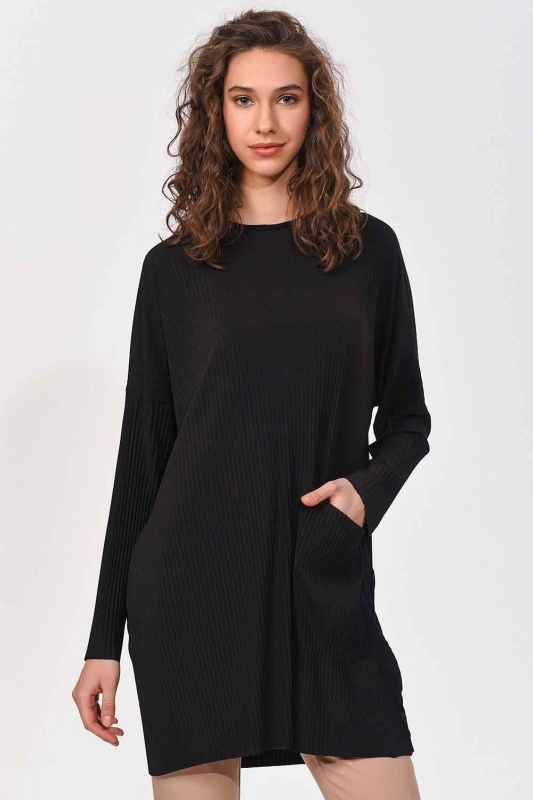 Pleated Pocket Detailed Blouse (Black)