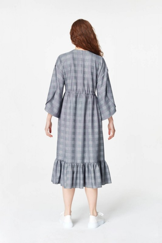 Plaid Patterned Long Dress (Navy Blue)
