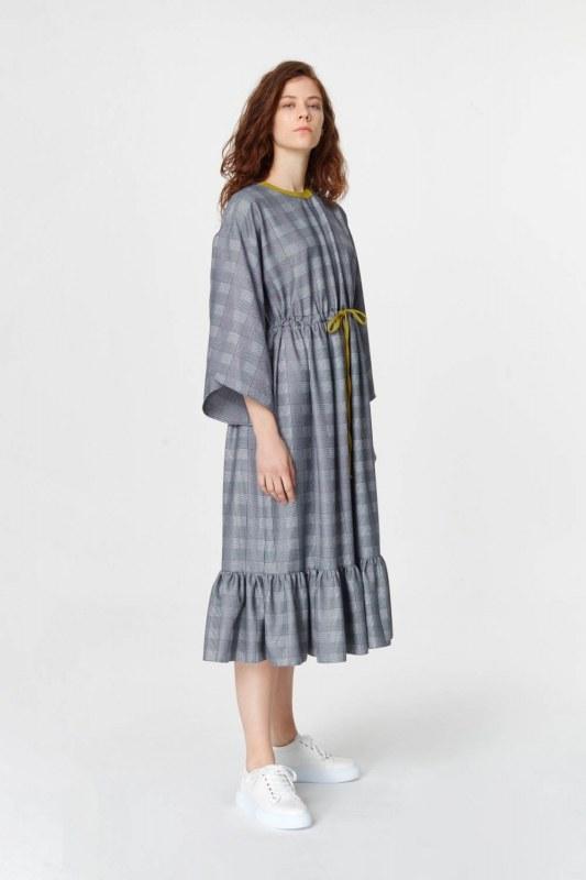 Plaid Patterned Long Dress (Navy Blue)